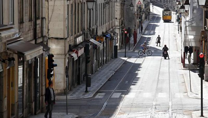 A near-deserted street in Lisbon