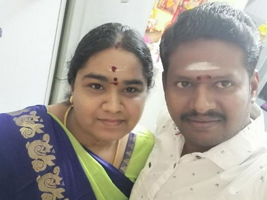 Kollamal with her husband in happy times
