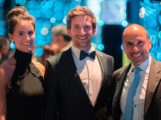 World Champion Kevin Reiterer (centre) is joined by Victory Team chairman Huraiz Bin Huraiz (right) and his longtime girlfriend Laura Ullrich at the 2019 Annual UIM Awards Night in Lausanne, in the first week of March.