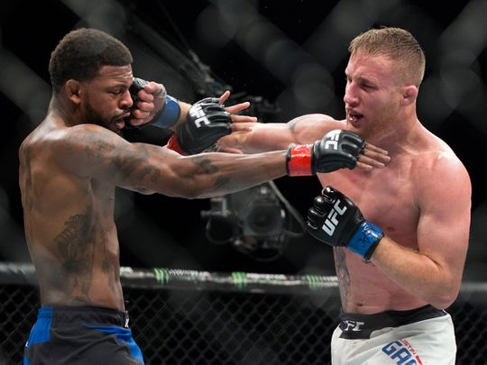 Justin Gaethje, right, is part of the main event at UFC 249