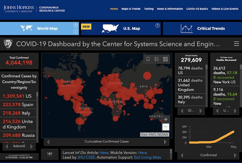 The dashboard from Johns Hopkins Coronavirus Resource Centre as it stood in Sunday afternoon at 1:26 pm.
