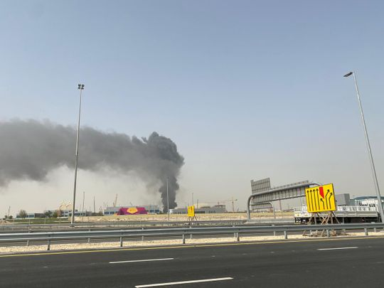 Fire at Expo 2020 site