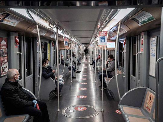 Milan Italy subway social distancing
