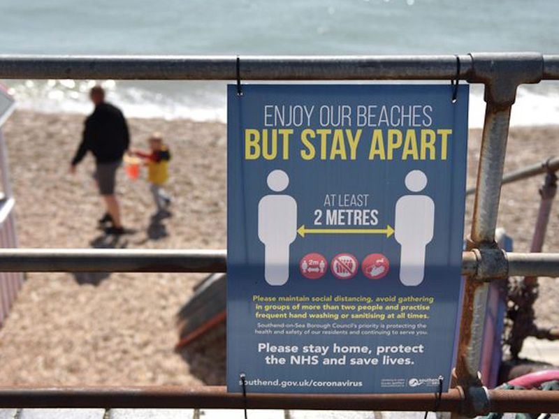 Visitors to Southend-on-Sea are being told to continue observing social distancing measures on the beach.
