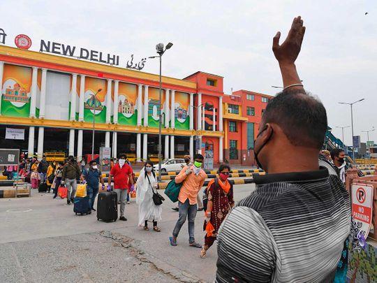 Delhi railway station passengers train