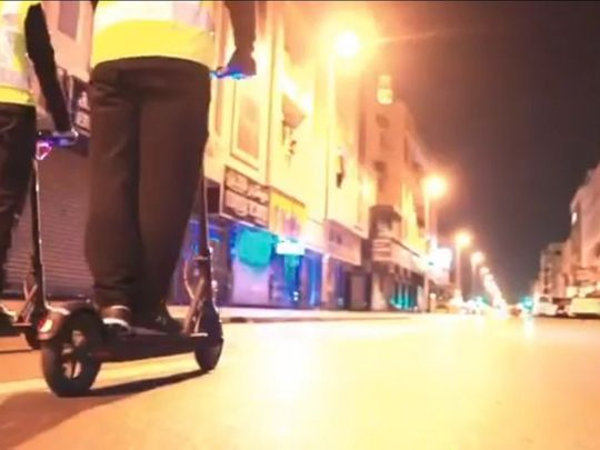 Dubai Police use scooters for COVID-19 restriction movement patrols