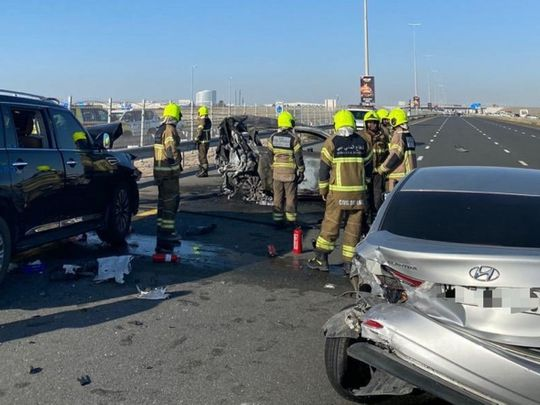 Three people die in four car smash on Sheikh Zayed Road