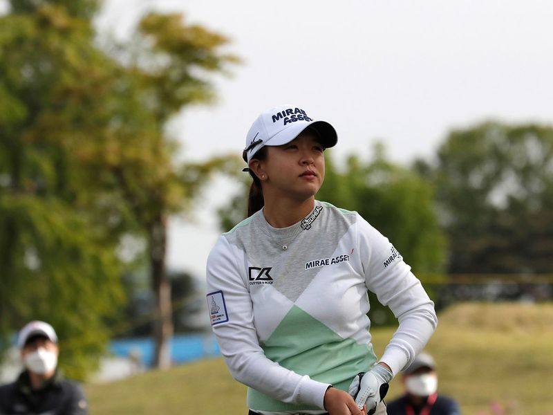 Kim Sei-young of South Korea watches her tee shot on the 10th hole during the first round of the KLPGA Championship at the Lakewood Country Club in Yangju,