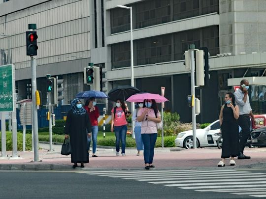 People wearing masks at Business Bay, Dubai