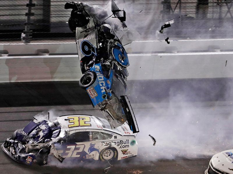 Ryan Newman's Mustang was knocked into Daytona's concrete wall, flipped upside down, got hit again and caught fire
