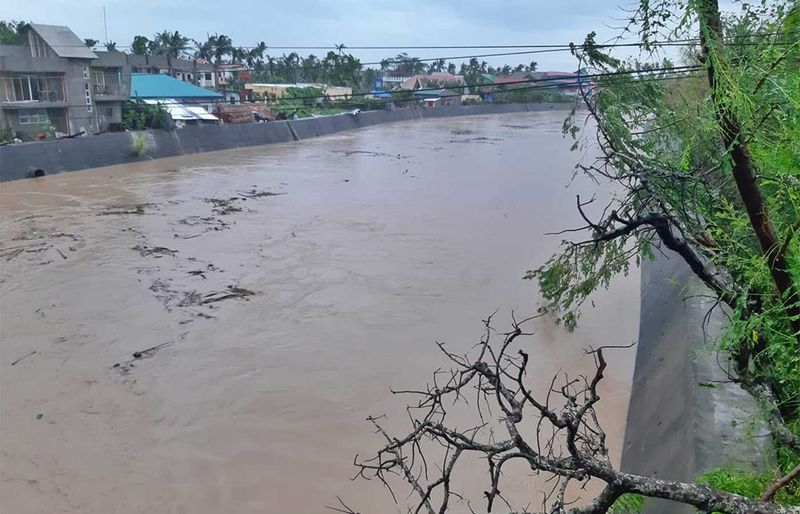 Rising floodwaters in Bulan town, in Sorsogon province peastern Philippines.