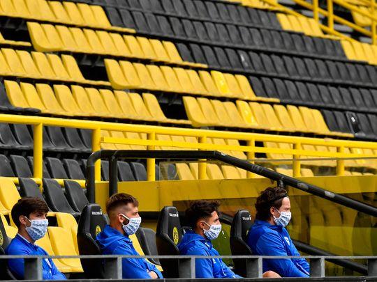 The empty stadium for the Dortmund v Schalke match