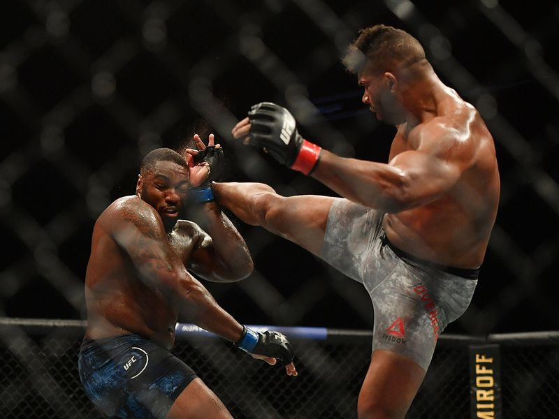 Alistair Overeem catches Walt Harris with a kick in their heavyweight bout during UFC Fight Night at VyStar Veterans Memorial Arena in Jacksonville, Florida.