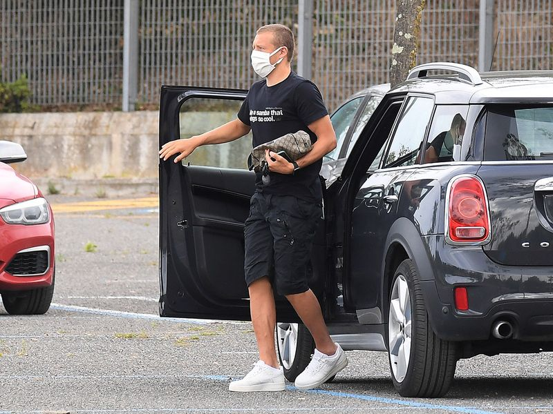 Lazio's Lucas Leiva arrives for training at the Formello Sports Centre, following the outbreak of the coronavirus disease (COVID-19), Formello, Italy May 18, 2020. REUTERS/Alberto Lingria