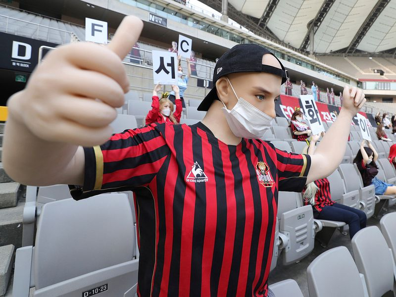 Mannequins replaced fans at the match between FC Seoul and Gwangju FC at the Seoul World Cup Stadium in Seoul, South Korea.