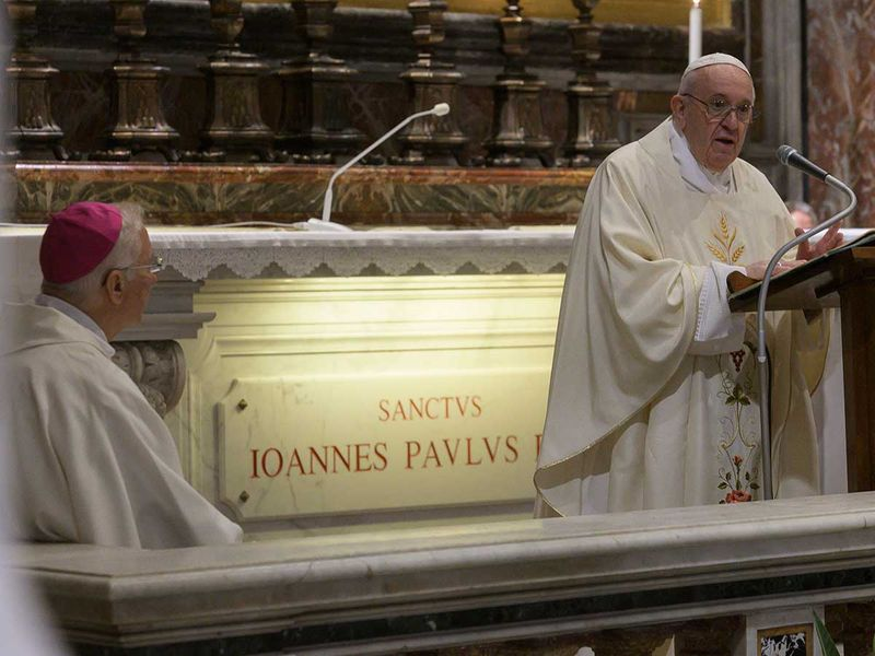 Pope Francis celebrates a Mass for the 100th anniversary of the birth of Pope John Paul II, in St. Peter's Basilica, at the Vatican