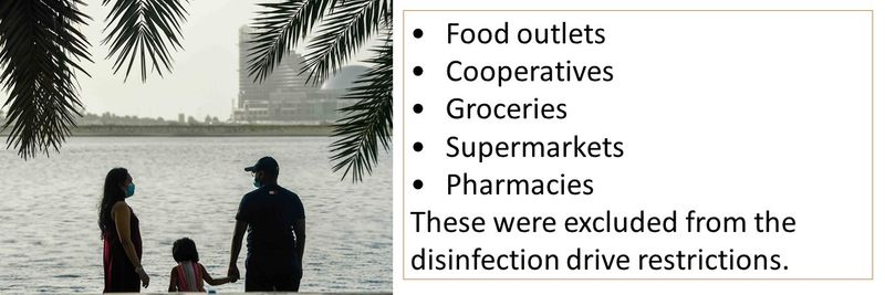 •Food outlets •Cooperatives •Groceries •Supermarkets  •Pharmacies  These were excluded from the disinfection drive restrictions.