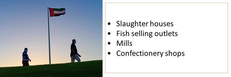 •Slaughter houses •Fish selling outlets •Mills •Confectionery shops