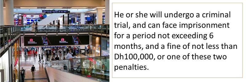 He or she will undergo a criminal trial, and can face imprisonment for a period not exceeding 6 months, and a fine of not less than Dh100,000, or one of these two penalties.