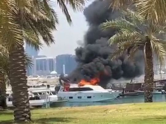 Luxury yacht catches fire in Abu Dhabi