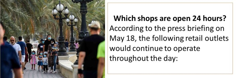 Which shops are open 24 hours? According to the press briefing on May 18, the following retail outlets would continue to operate throughout the day: