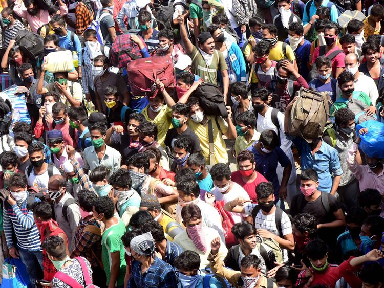 A crowd gathered at the Bandra Terminus to catch a migrant special train going to Bihar's Purnia, in Bandra