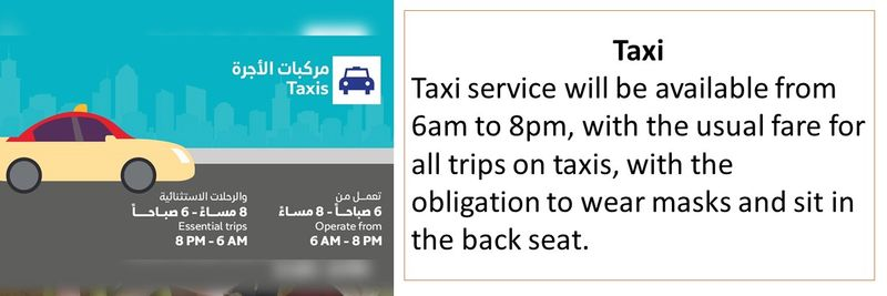 Taxi service will be available from 6am to 8pm, with the usual fare for all trips on taxis, with the obligation to wear masks and sit in the back seat.
