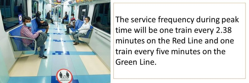 The service frequency during peak time will be one train every 2.38 minutes on the Red Line and one train every five minutes on the Green Line.