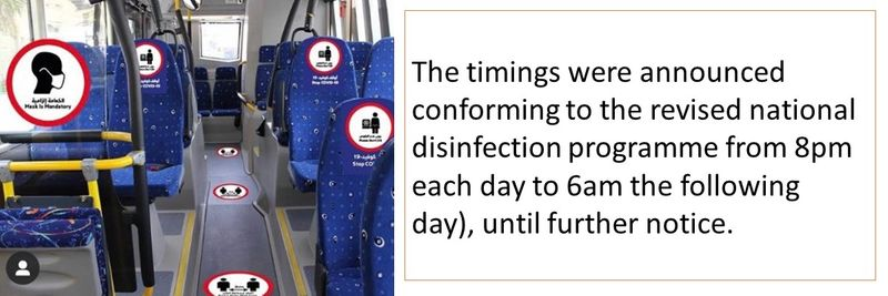 The timings were announced conforming to the revised national disinfection programme from 8pm each day to 6am the following day), until further notice.