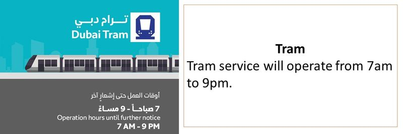 Tram service will operate from 7am to 9pm.