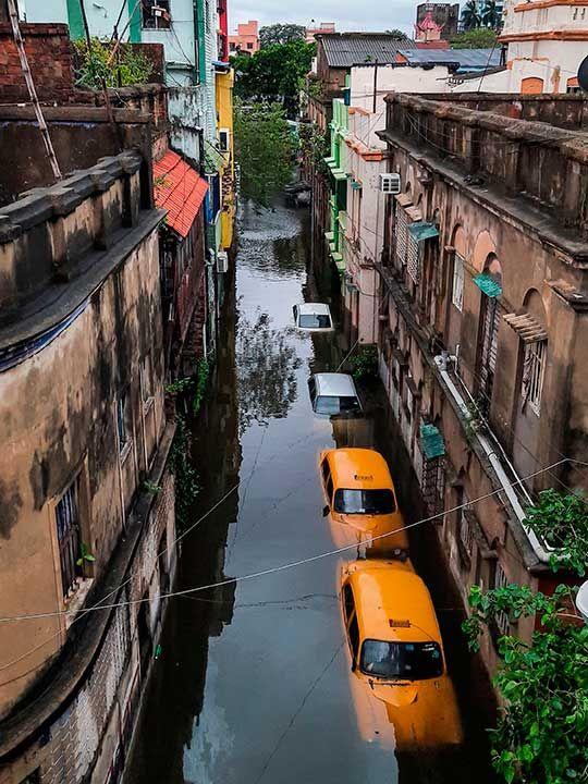 Amphan submerged street Kolkata