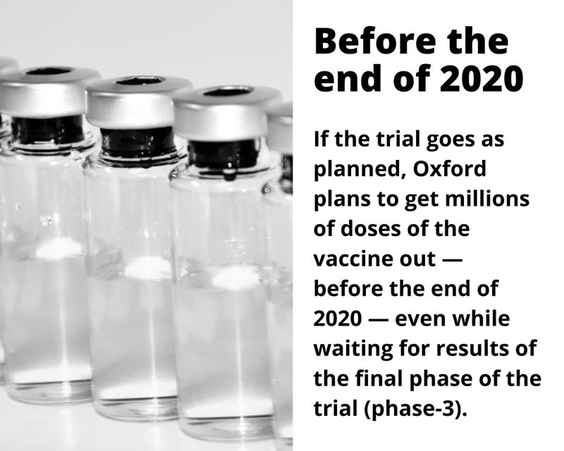 If the trial goes as planned, Oxford plans to get millions of doses of the vaccine out —  before the end of 2020 — even while waiting for results of the final phase of the trial (phase-3).