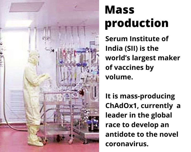 Serum Institute of India (SII) is the world's largest maker of vaccines by volume.  It is mass-producing ChAdOx1, currently  a leader in the global race to develop an antidote to the novel coronavirus.