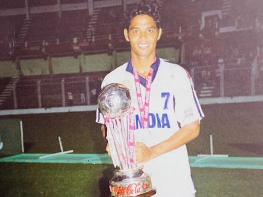 Jules Alberto Dias with the SAFF Trophy, which India won for the third time in 1999.