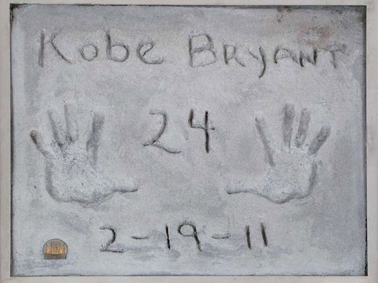Test prints of Kobe Bryant's hands, made in 2011 when the late basketball player became the first athlete to leave his prints in cement outside Grauman's Chinese Theatre in Hollywood