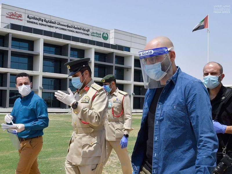 Gulf News reporter Ali Al Shouk with Brigadier Al Shammali during the prison tour
