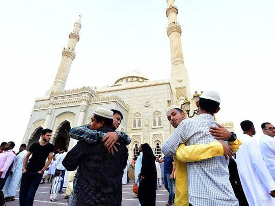 Eid worshippers outside Al Noor Mosque in Sharjah