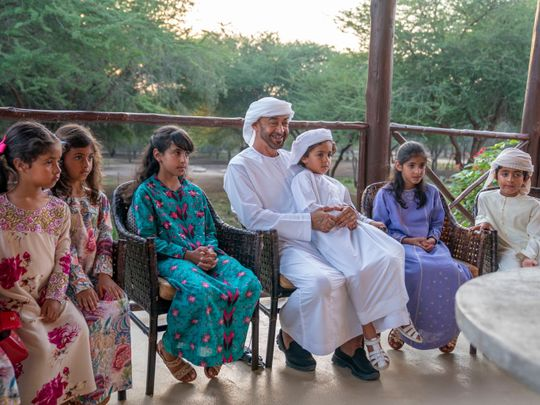 His Highness Sheikh Mohammed Bin Zayed Al Nahyan, Crown Prince of Abu Dhabi and Deputy Supreme Commander of the UAE Armed Forces exchanges Eid greetings on a video call with family