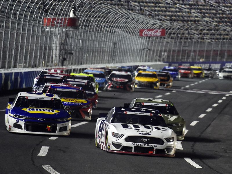 Keselowski leads a pack of cars during the NASCAR Cup Series Coca-Cola 600
