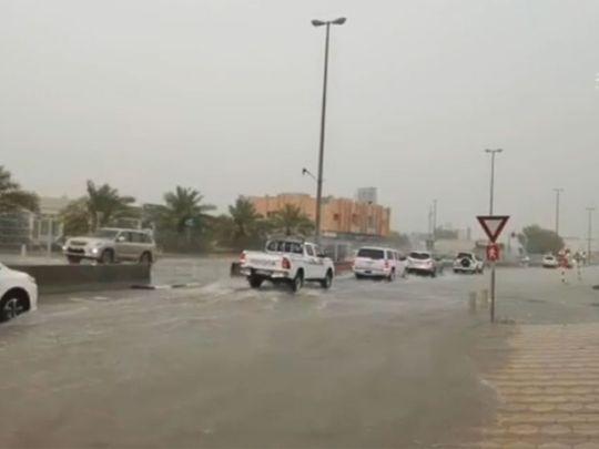 Rain on the Sharjah-Kalba route