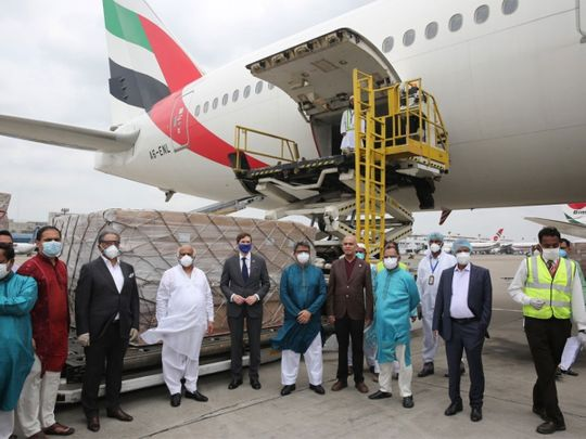 The PPE gowns being loaded on an Emirates flight