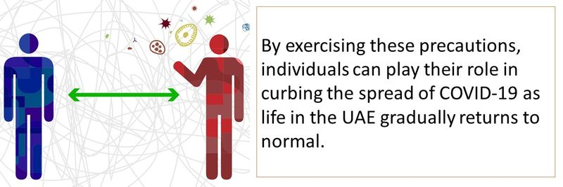 By exercising these precautions, individuals can play their role in curbing the spread of COVID-19 as life in the UAE gradually returns to normal.