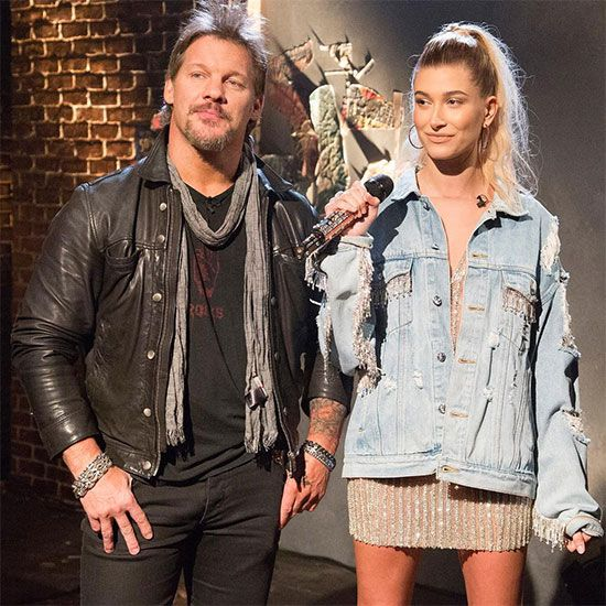 Hailey Baldwin wearing @deathbydollsofficial denim jacket