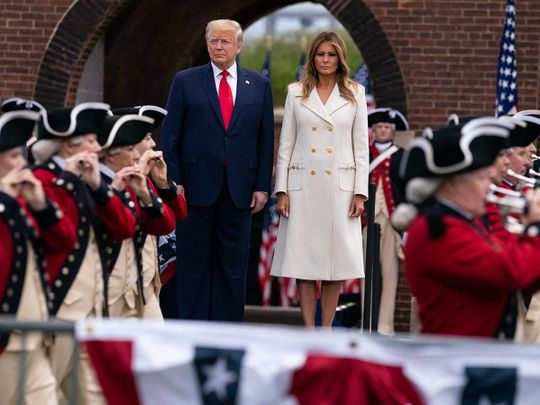President Donald Trump and first lady Melania Trump participate in a Memorial Day ceremony at Fort McHenry National Monument and Historic Shrine