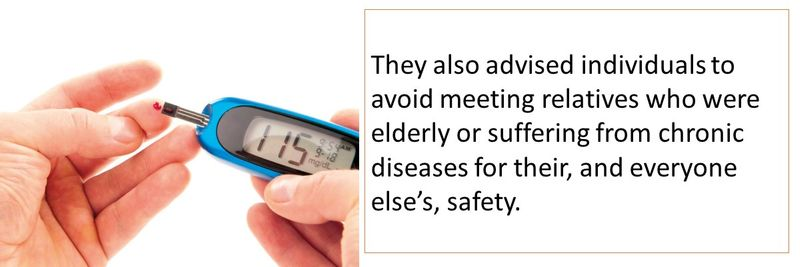 They also advised individuals to avoid meeting relatives who were elderly or suffering from chronic diseases for their, and everyone else's, safety.