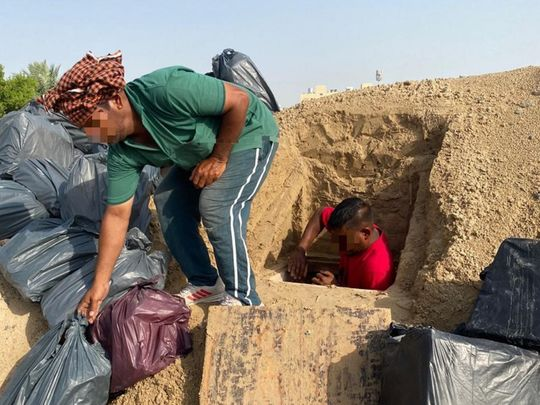 Thousands of bottles of alcohol were unearthed in a hole in the Dubai desert over Eid