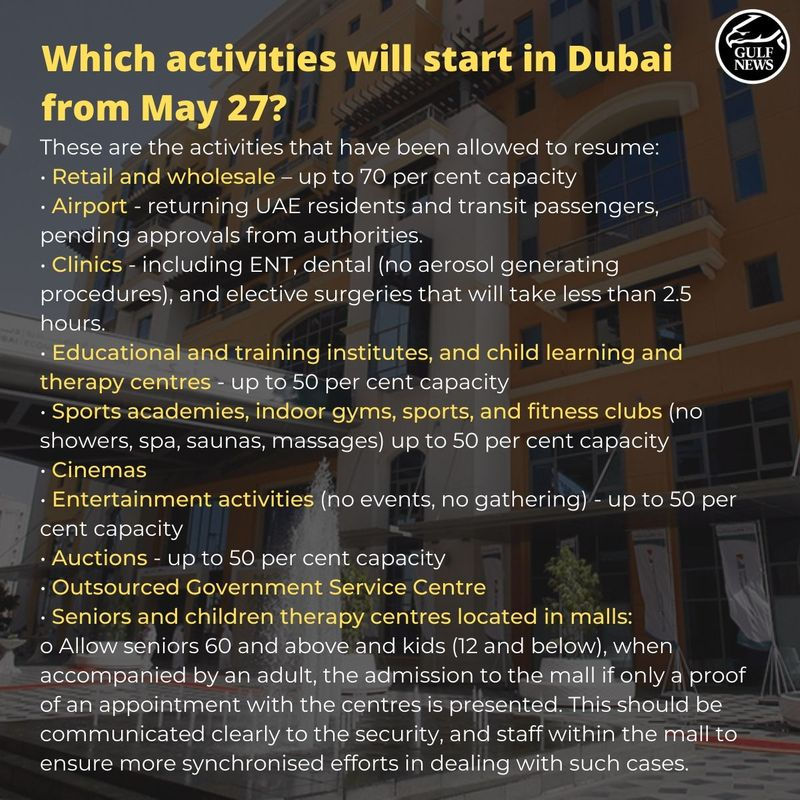 Which activities are allowed in Dubai from May 27