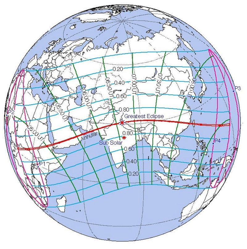 Annular solar eclipse track June 21, 2020