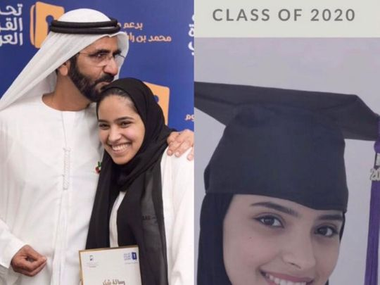 Emirati university student gets a special message from Sheikh Mohammed for graduation