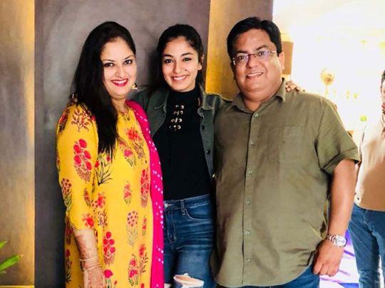 Alvira Khan with her parents